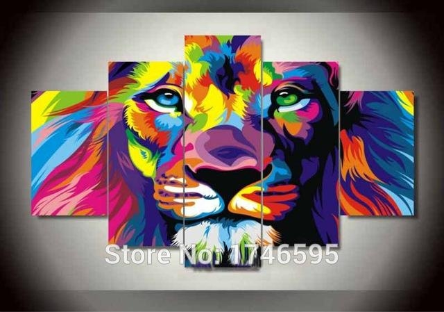 Big Size Abstract Living Room Wall Decor Colorful Wall Art Picture Throughout Lion King Canvas Wall Art (Image 9 of 20)