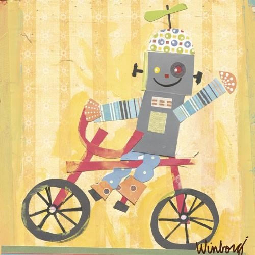 Biking Robot Canvas Wall Artoopsy Daisy – Rosenberryrooms Regarding Robot Canvas Wall Art (Image 3 of 20)