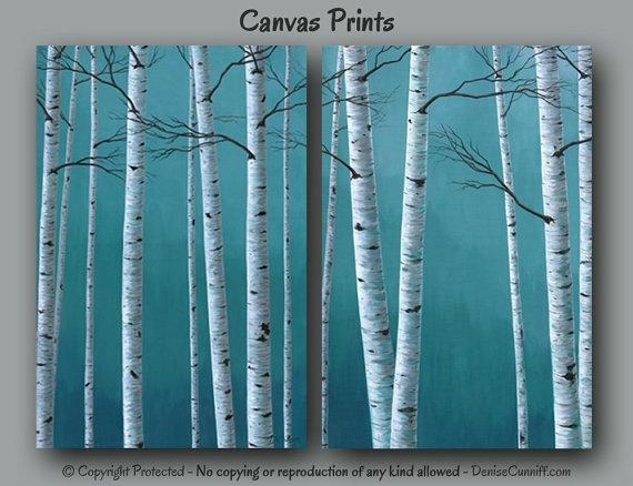 Birch Tree Painting Canvas Print Set 2 Piece Large Wall For Birch Trees Canvas Wall Art (View 16 of 20)