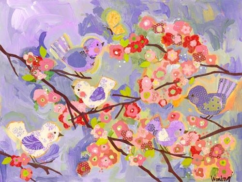 Birdies And Branches Lilac Canvas Wall Artoopsy Daisy With Lilac Canvas Wall Art (Image 3 of 20)