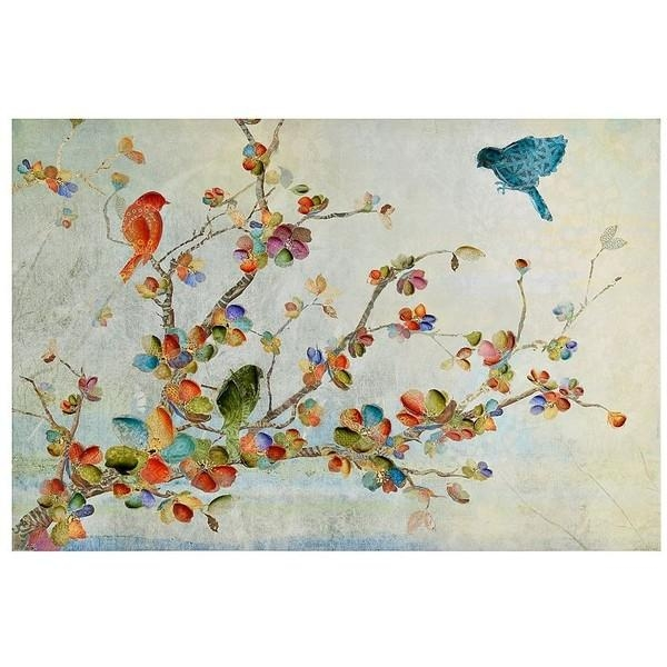 Birds And Branches Canvas Art Print (735 Uah) ❤ Liked On Polyvore For Birds Canvas Wall Art (Image 6 of 20)