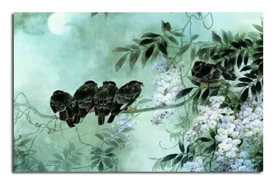 Birds On Blossom – Duck Egg Blue Canvas Wall Art Picture 30X20 Inch With Duck Egg Canvas Wall Art (Image 1 of 20)