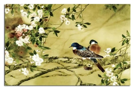 Birds On Plum Blossom In Natural Earthy Green Tones Canvas Wall For Birds Canvas Wall Art (Image 7 of 20)
