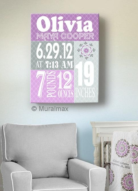 Birth Announcement Print Purple Baby Girl Nursery Wall Art In Nursery Canvas Wall Art (View 6 of 20)