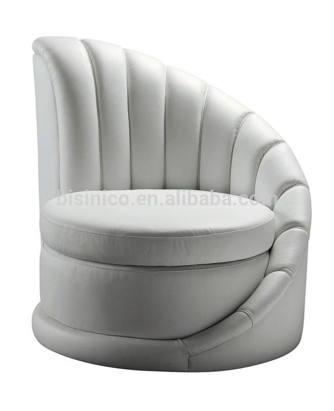 Bisini Postmodern Single Round Sofa,modern Furniture,genuine Leather With White Sofa Chairs (Image 3 of 10)