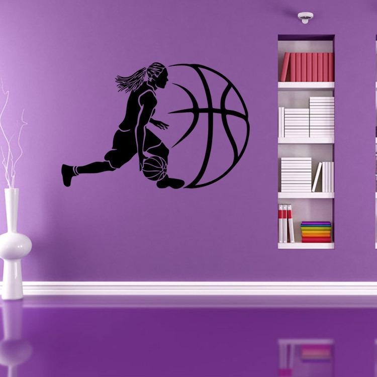 Black Abstract Basketball Player And Ball Wall Art Mural Decor Diy Pertaining To Abstract Graphic Wall Art (Image 8 of 20)