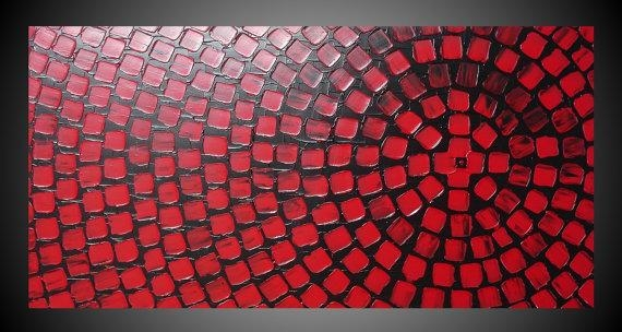 Black And Red Painting On Large Canvas Wall Art Deco Squares Regarding Large Red Canvas Wall Art (Image 1 of 14)