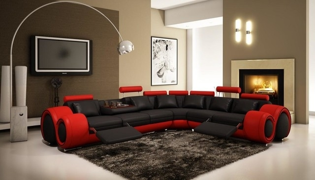 Black And Red Sectional Sofa With Adjustable Headrest – Modern With Regard To Red And Black Sofas (Image 1 of 10)
