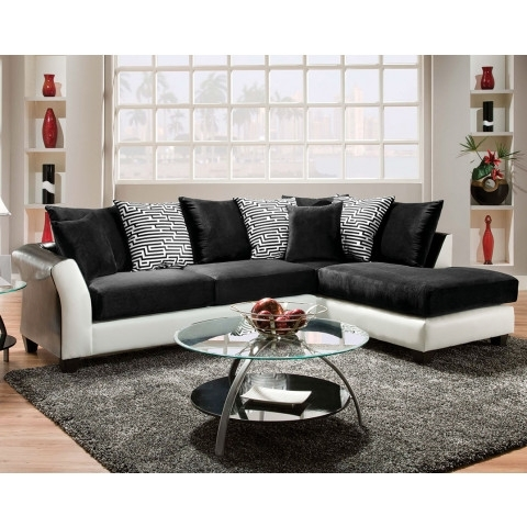 Black And White Couch, Pattern Pillows | Zigzag 2 Piece Sectional Within Black Sectional Sofas (Image 1 of 10)