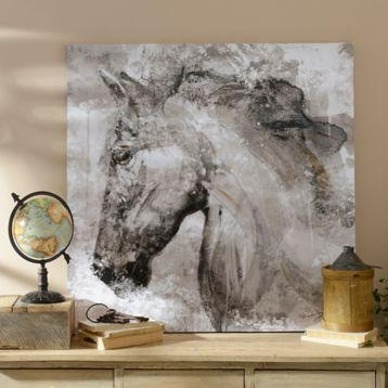 Black And White Horse Canvas Art Print | White Horses, Horse And Throughout Horses Canvas Wall Art (Image 6 of 20)