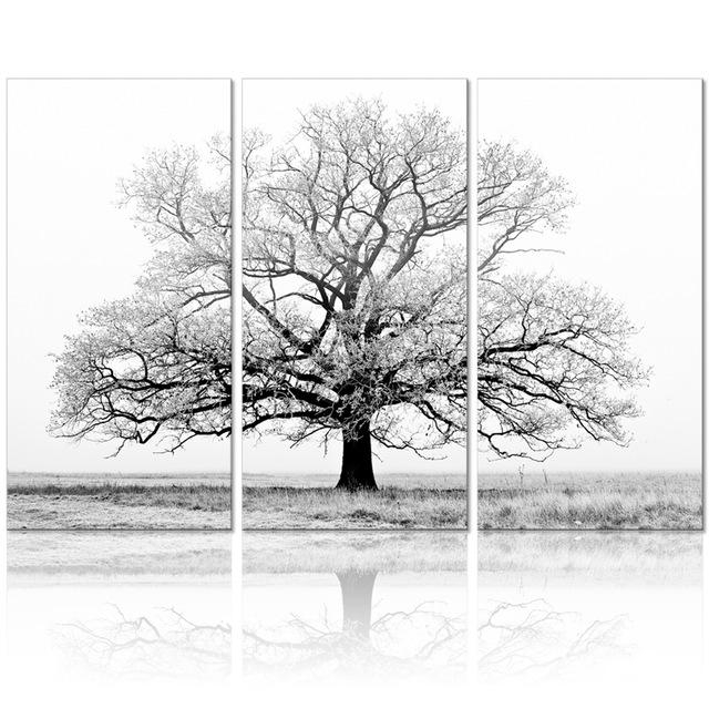 Black And White Tree Picture Painting Canvas Wall Art Wall Decor For Black And White Photography Canvas Wall Art (View 18 of 20)