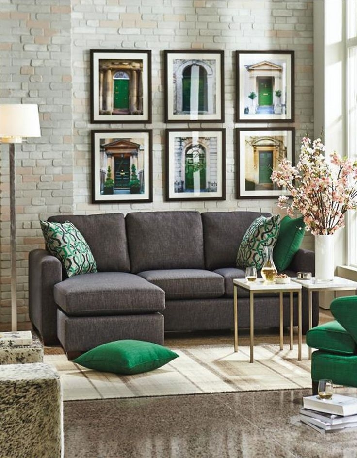 Black/charcoal, Green And Gold / Andrea Sectional Sofa With Chaise Intended For The Bay Sectional Sofas (View 5 of 10)