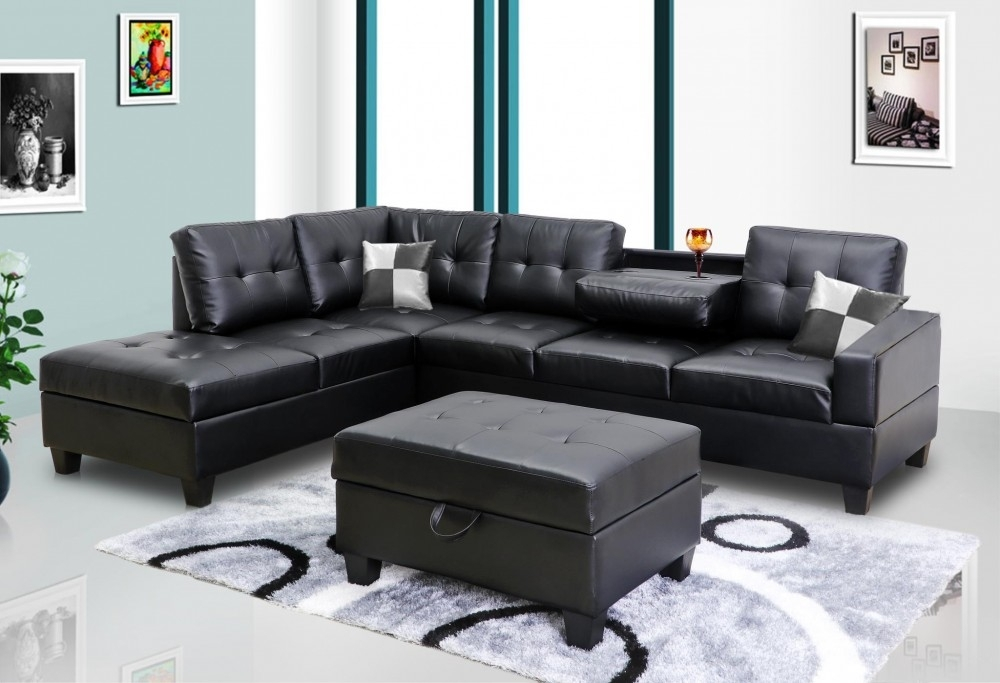Black Faux Leather Sectional | 8077801 – Black | Sectional Sofas Within Faux Leather Sectional Sofas (Image 1 of 10)