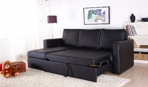 Black Faux Leather Sectional Sofa Bed With Left Facing Storage With Sectional Sofas That Turn Into Beds (Image 5 of 10)