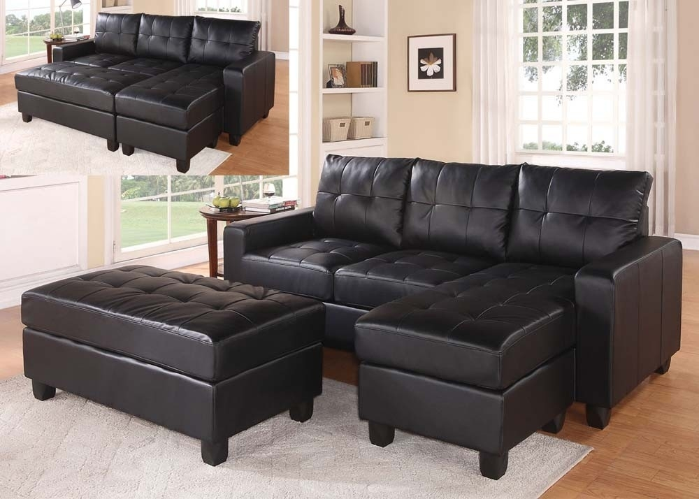 Black Faux Leather Sectional Sofa With Reversible Chaise And Ottoman With Regard To Leather Sectional Sofas With Ottoman (Image 1 of 10)