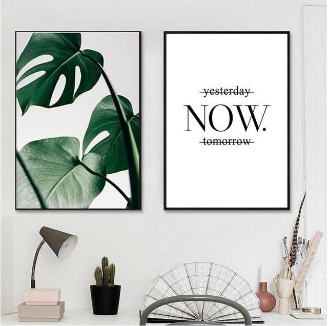 Black Framed Slogan Green Leaves Wall Art Set Canvas Art Palm Tree Within Leaves Canvas Wall Art (Image 3 of 20)