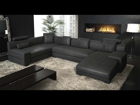 Black Leather Sectional Couch – Youtube Pertaining To Black Sectional Sofas (Image 2 of 10)