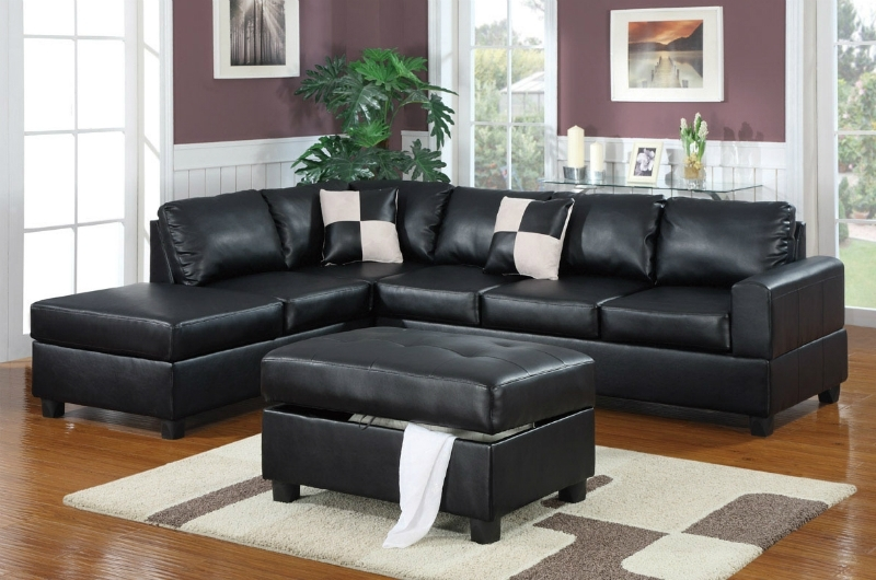 Black Leather Sectional Sofa And Ottoman – Steal A Sofa Furniture For Black Leather Sectionals With Ottoman (Image 5 of 10)