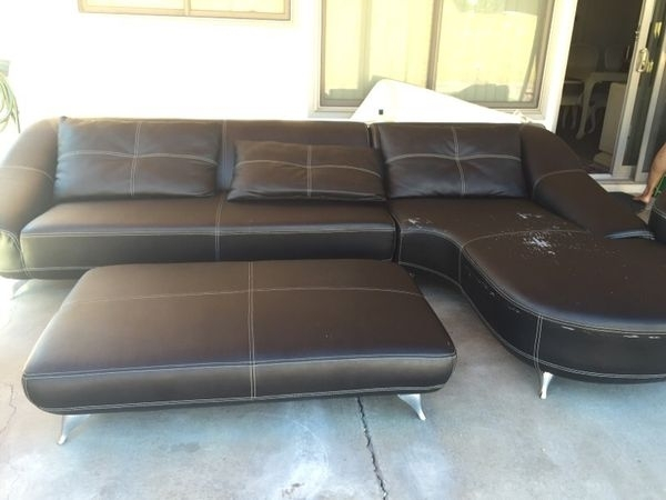 Black Leather Sectional Sofa With Auto Man (Image 1 of 10)