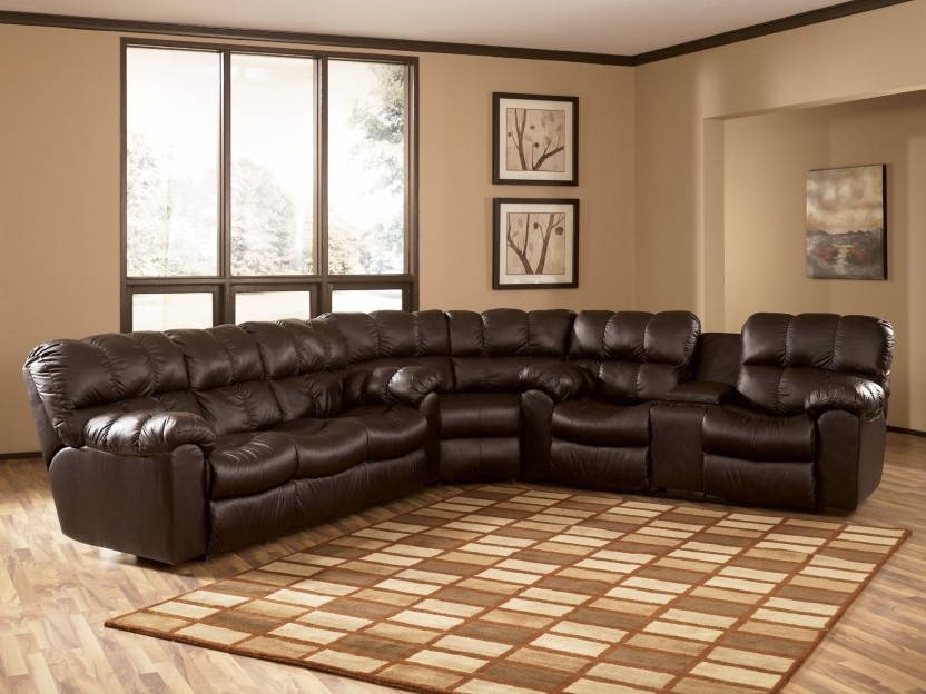 Featured Image of Sectional Sofas With Recliners Leather