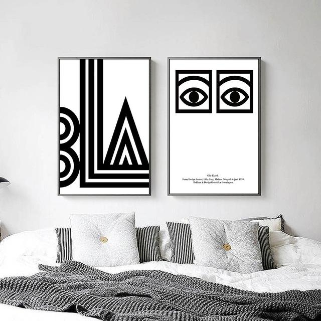 Black White Eye Letters Abstract Canvas Posters Minimalist Canvas With Letters Canvas Wall Art (Image 7 of 20)