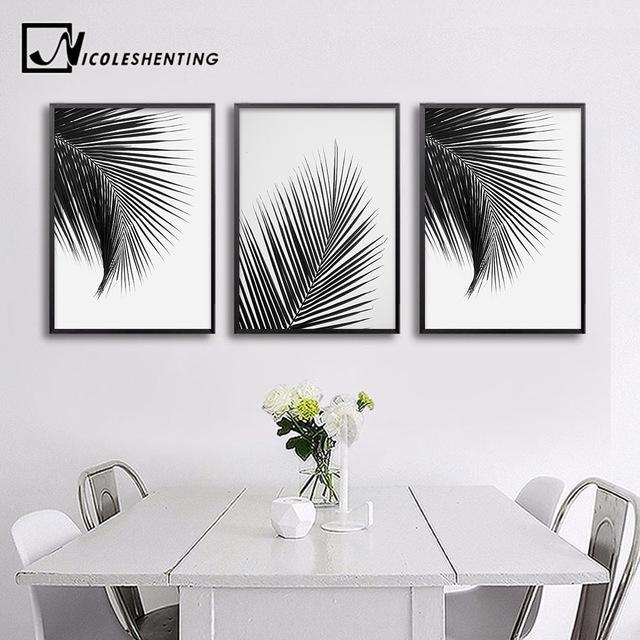 Black White Palm Tree Leaves Canvas Posters And Prints Minimalist Intended For Leaves Canvas Wall Art (Image 4 of 20)