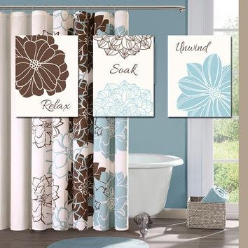 Blue Brown Bathroom Wall Art Canvas Or From Trm Design | Wall Art Throughout Blue And Brown Canvas Wall Art (View 5 of 20)