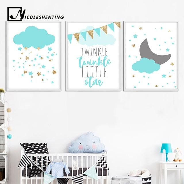 Blue Clouds Moon Nursery Canvas Wall Art Posters And Prints Large In Nursery Canvas Wall Art (Image 10 of 20)