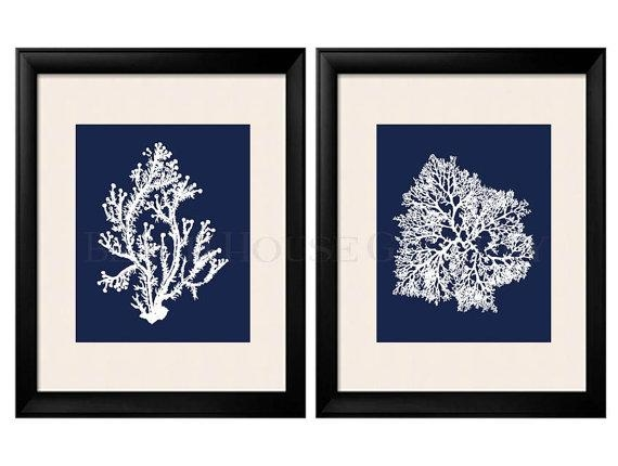 Blue Coral Wall Art Navy Blue Coral Print Navy White Wall Inside Navy Canvas Wall Art (Image 3 of 20)