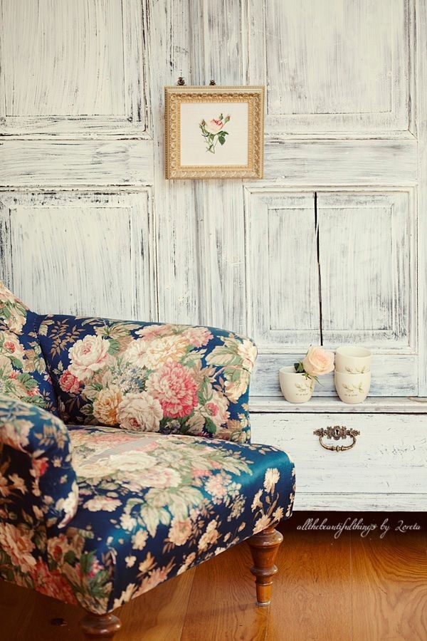 Blue Floral Couch Floral Living Room Furniture Popular Design Fancy Throughout Floral Sofas And Chairs (Image 4 of 10)