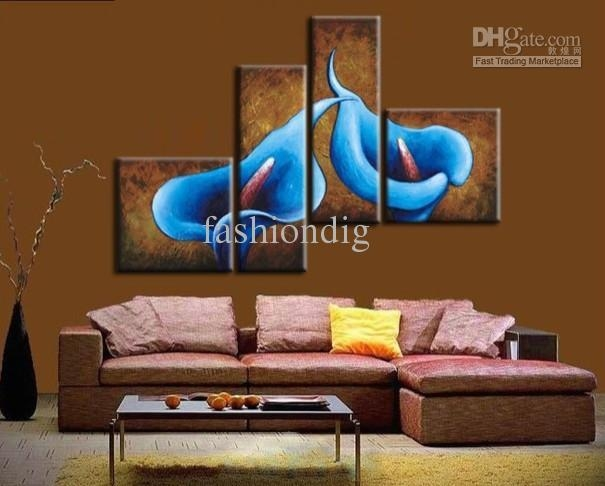 Blue Flower Oil Painting On Canvas Abstract Calla Home Office With Blue And Brown Canvas Wall Art (Image 5 of 20)