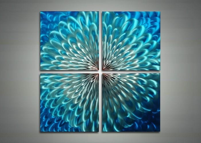 Blue Metal Art – Abstract Wall Art Painting – 32X32In | Fabu Art With Abstract Metal Wall Art Painting (View 2 of 20)