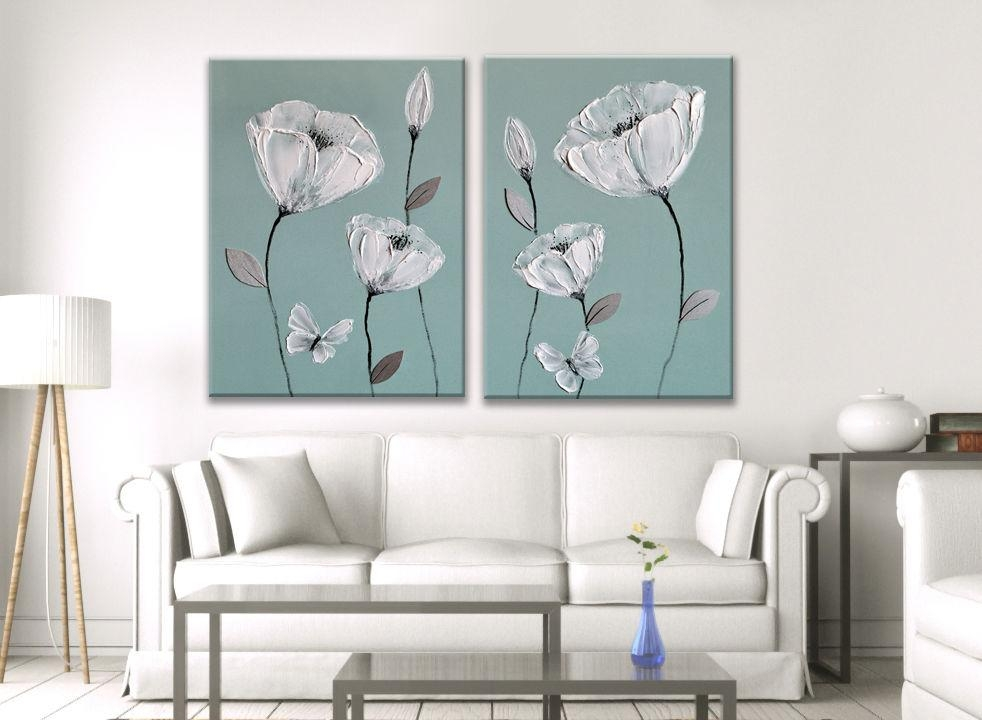 Blue Painting Picture White Grey Flower Butterfly Zen Canvas Art Intended For Duck Egg Canvas Wall Art (Image 3 of 20)