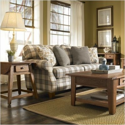 Blue Plaid Sofa | Broyhill 6440 3Q Angeline Cottage Sofa In Blue Inside Country Cottage Sofas And Chairs (Image 2 of 10)