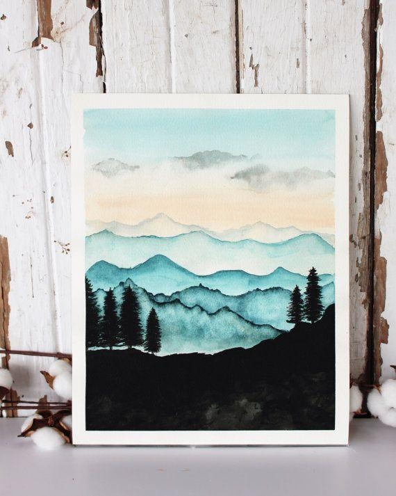 Blue Ridge Mountains Watercolor Print / Nature Painting / Mountain With Regard To Mountains Canvas Wall Art (Image 7 of 20)