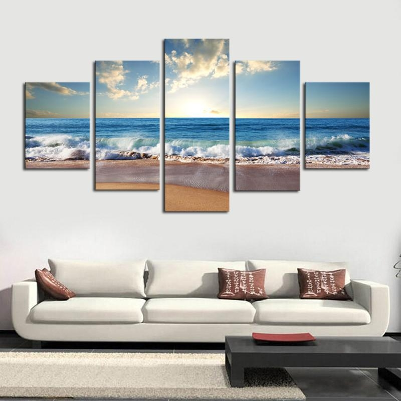 Blue Sky Beach Scene Canvas Print 5 Piece Set – Made In The Usa Pertaining To Canvas Wall Art Beach Scenes (Image 10 of 20)