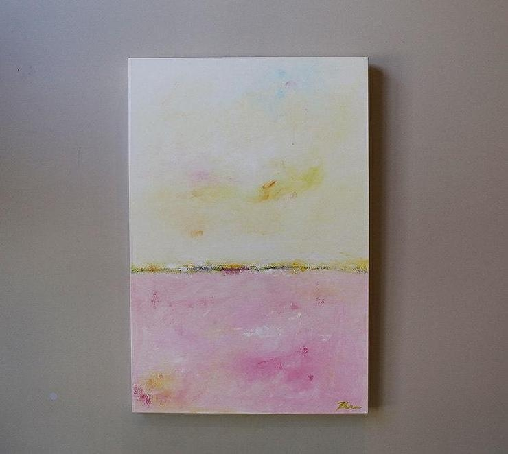 Blush Horizon Abstract Painting Throughout Abstract Horizon Wall Art (View 15 of 20)