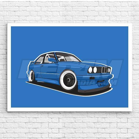 Bmw E30 M3 Canvas / Wall Art / Car Canvas / Oldschool Car / For Bmw Canvas Wall Art (Image 6 of 20)