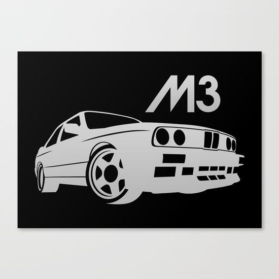 Bmw E30 M3 – Silver – Canvas Printvehicle | Society6 For Bmw Canvas Wall Art (View 11 of 20)