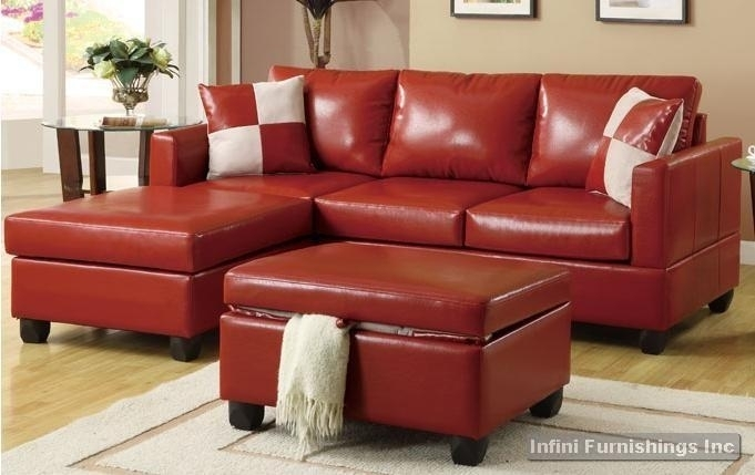 Bobkona Red Leather Sectional Sofa And Storage Ottoman Set F7336 Red Within Red Leather Sectional Sofas With Ottoman (Image 5 of 10)