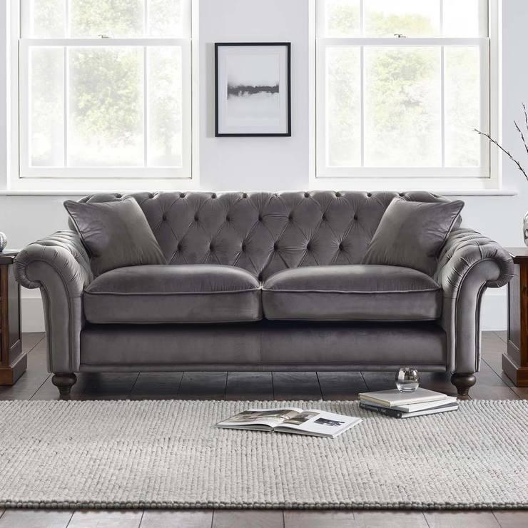 Bordeaux Button Back 3 Seater Grey Velvet Sofa With 2 Accent Pillows Regarding Velvet Sofas (Image 2 of 10)
