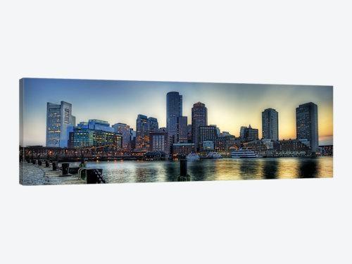 Boston Panoramic Skyline Cityscape Canvas Wall Art | Icanvas With Panoramic Canvas Wall Art (Image 5 of 20)