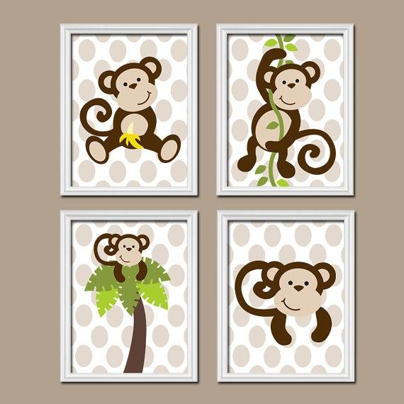 Boy Monkey Jungle Theme Tree Vine Polka Dot Print Set Of 4 Prints With Kidsline Canvas Wall Art (Image 3 of 20)