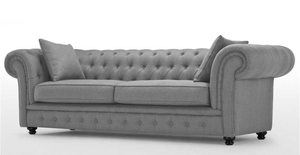 Branagh 3 Seater Grey Chesterfield Sofa | Made Within Chesterfield Sofas (Image 2 of 10)