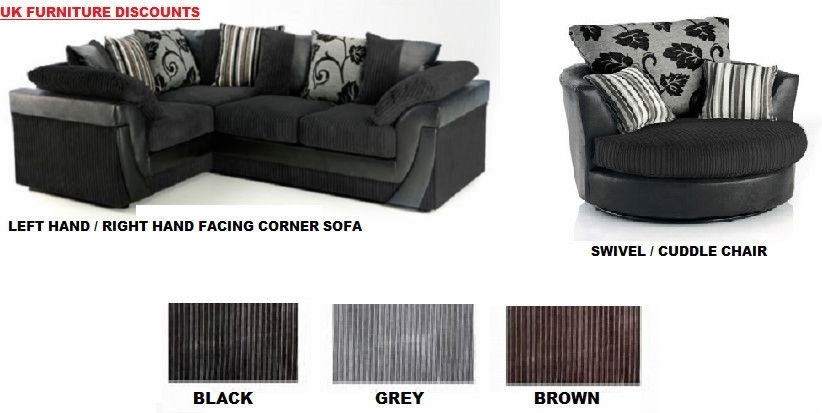 Brand New Lucy Lush Corner Sofa Suite/ Cuddle Swivel Chair Black Pertaining To Sofas With Swivel Chair (Image 2 of 10)