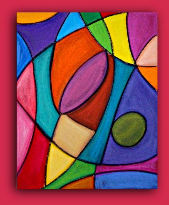 Bright Colorful Original Abstract Painting Large Wall Art Fine Art Regarding Glass Abstract Wall Art (View 3 of 20)