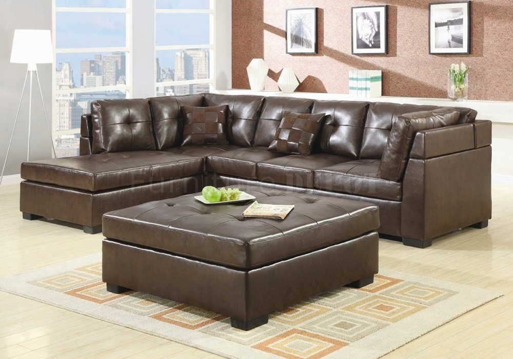 Brilliant Brown Leather Sectional Sofas And Optional Ottoman Inside In Sectional Sofas With Ottoman (Image 3 of 10)