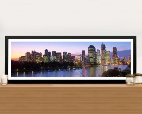Brisbane Skyline In Panoramic View Picture Art Print On Canvas With Brisbane Canvas Wall Art (Image 16 of 20)