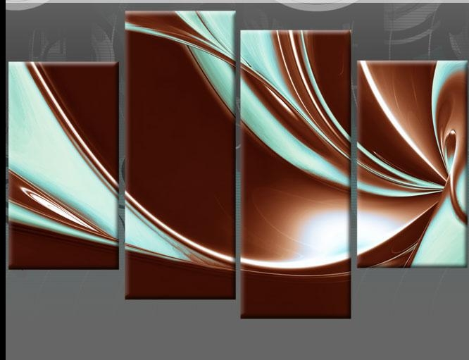 Brown And Duck Egg Blue Abstract Canvas Pictures Wall Art Split With Regard To Blue And Brown Canvas Wall Art (Image 6 of 20)