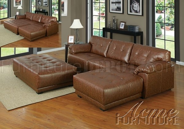 Brown Bonded Leather Modern Sectional Couch W/optional Ottoman For Leather Sectional Sofas With Ottoman (Image 4 of 10)